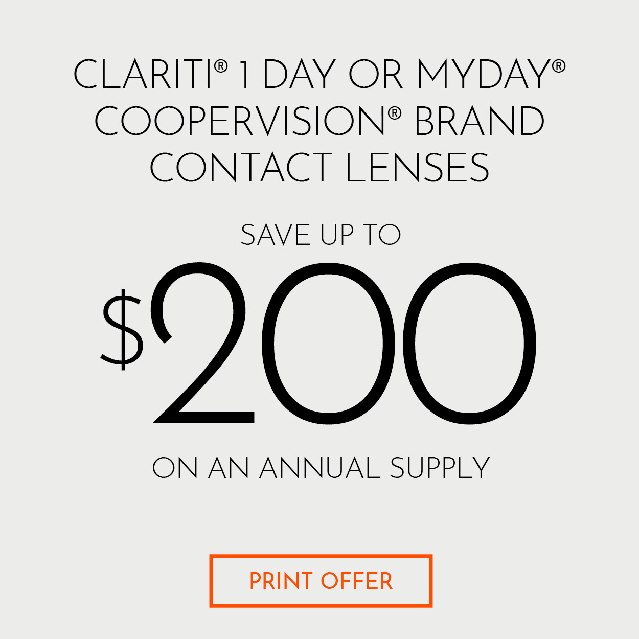 Coopervision Clariti 1 Day MyDay Contact Lenses $200 Rebate